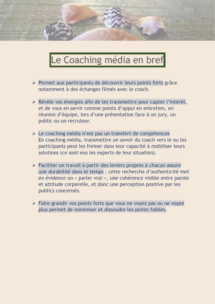 Le Coaching média en bref